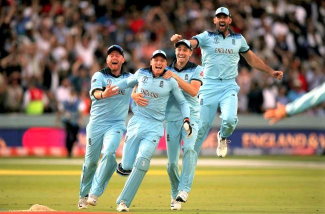 The England cricket team celebrate the moment they won the World Cup last Sunday.  Photo: Press Association