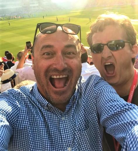 Isle of Wight County Press: Simon Wratten and Simon Bligh celebrating England winning the Cricket World Cup at Lords on Sunday.