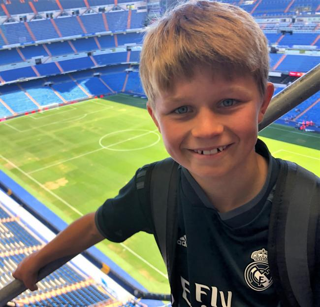 Charlie Hart, 12, at Real Madrid's Bernabeu Stadium, where he played a 20-minute match against children from across Europe.  Photo: Jo Hart