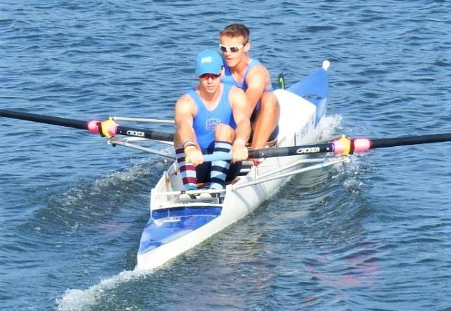 Shanklin and Sandown Rowing Club men's junior pair, Jamie Gamble and George Glenister, after they won the final at Coalporters Regatta on saturday, to win the Hampshire and Dorset Championship trophy in their class.