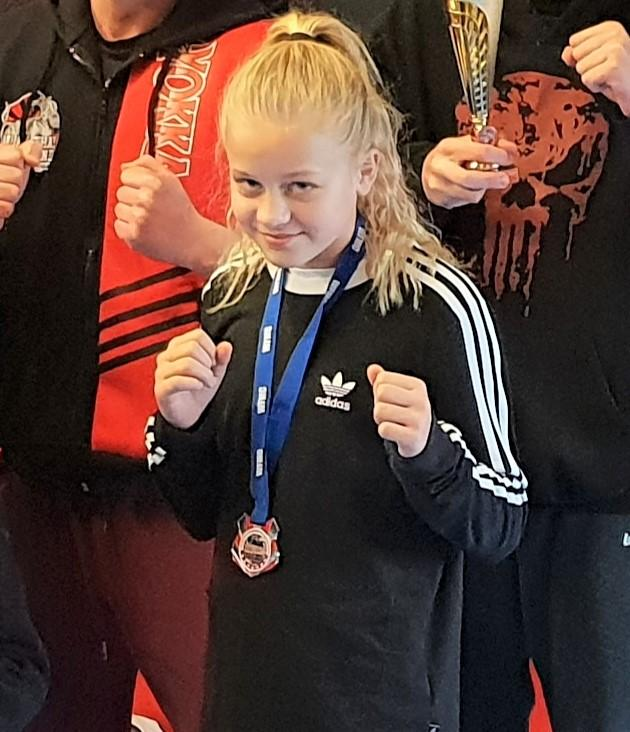 Lacey Masterton-Davis, who was crowned a kickboxing world champion in Barnsley at the weekend.
