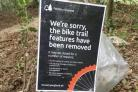 The bike trails at Parkhurst have been removed by the Forestry Commission.