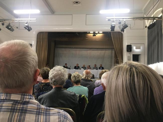 A public meeting held at East Cowes Town Hall to discuss the Crossway's development.