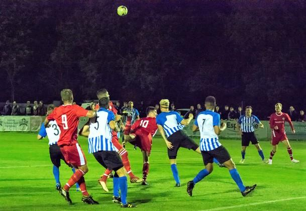 Isle of Wight County Press: Action between Cowes Sports and Newport in the second round of the Sydenhams Wessex League Cup last night (Wednesday).