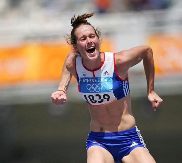 Kelly Sotherton, made MBE on the Queen's New Year Honours List, celebrates Olympic medal success in Athens.