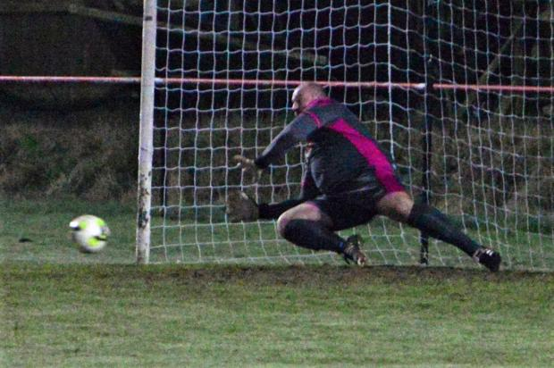 Isle of Wight County Press: Newport keeper Gary Streeter saves a penalty.