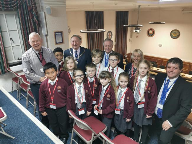 Barton Primary School pupils with IW Council members.