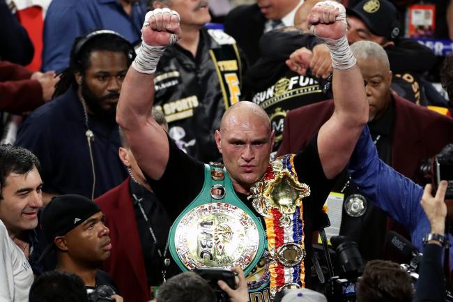 Tyson Fury celebrates after beating Deontay Wilder in Las Vegas
