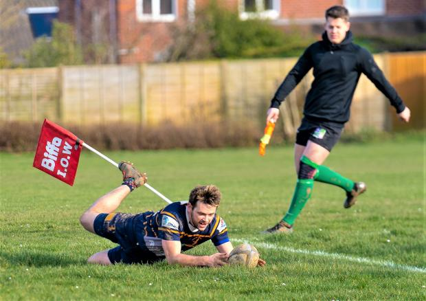 Isle of Wight County Press: Jacob Wyngard-Wright scores a try for Isle of Wight II against Bognor II.