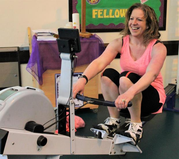 Isle of Wight County Press: Jo Garner, a learning support assistant, took on the rowing challenge.