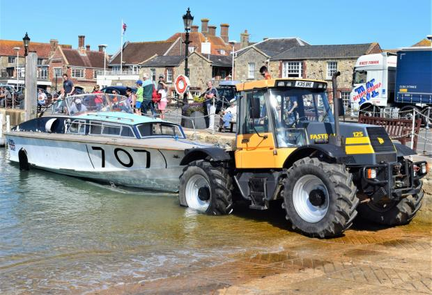 Isle of Wight County Press: The Fordsport 707 being test launched from Yarmouth Harbour.
