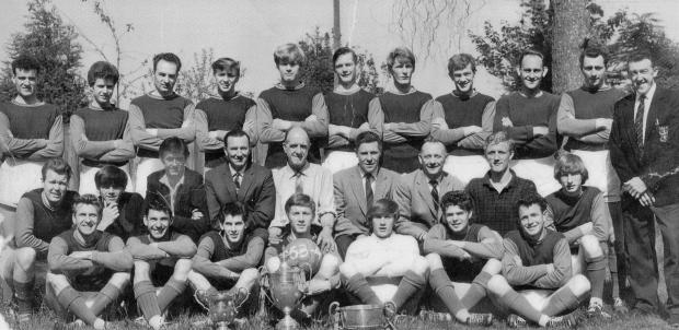 Isle of Wight County Press: Roy Shiner, far right, managed home village club, Seaview, to Island League success in the 1963-64 season as well.