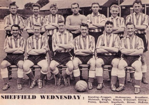 Isle of Wight County Press: Roy Shiner, centre, with ball, joined Sheffield Wednesday and helped them win promotion, scoring 33 goals in 42 games.