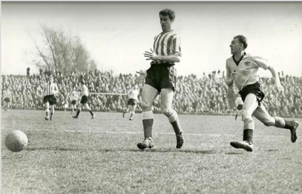 Isle of Wight County Press: Roy Shiner, right, in action for Hull City against Sunderland at Boothferry Park, Hull, in 1960.