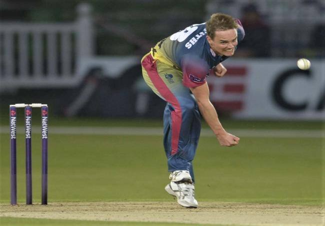 David Griffiths in T20 action for Kent.