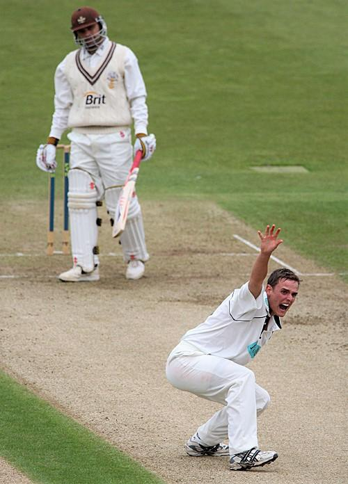 Isle of Wight County Press: David Griffiths appeals for LBW.