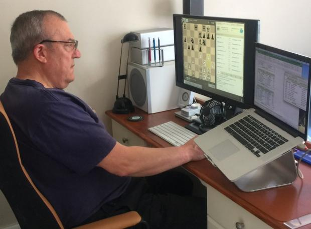 Isle of Wight County Press: Chess player, John Wrench, playing an online league match in lockdown.