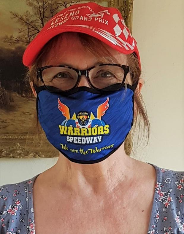 Isle of Wight County Press: A speedway fan on the Island using the Warriors virus masks.