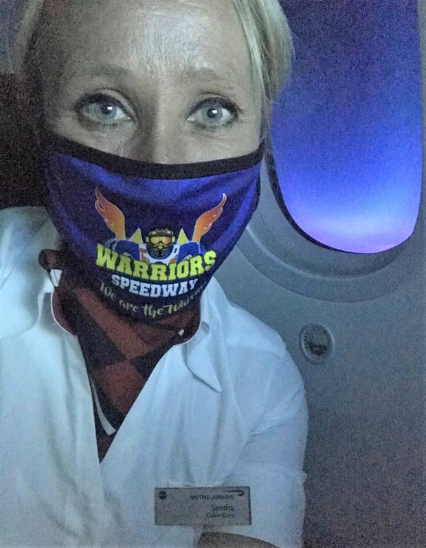 Isle of Wight County Press: A speedway fan from the Island using the Warriors virus masks.