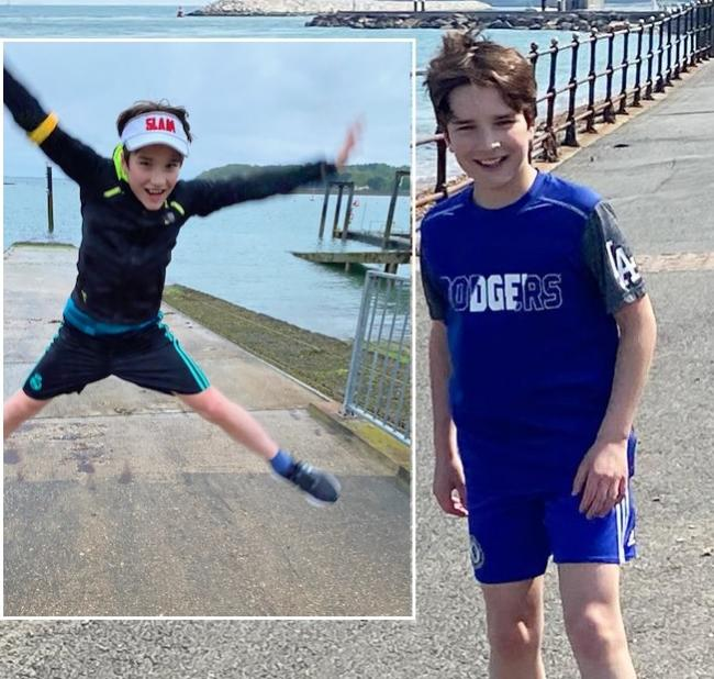 Jumping for joy: Harris is delighted to have raised more than £1,200