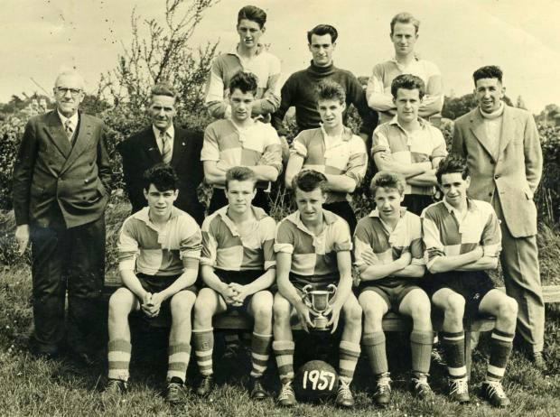 Isle of Wight County Press: Terry Mursell, front row, fourth left, was part of the successful Binstead side of the 1956-57 season.