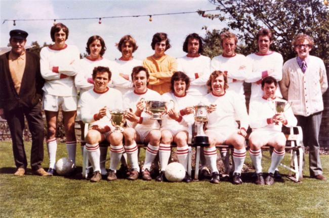Terry Mursell, front row, fourth left, was part of the very successful Brading Town side that won four trophies in the 1971-72 season.