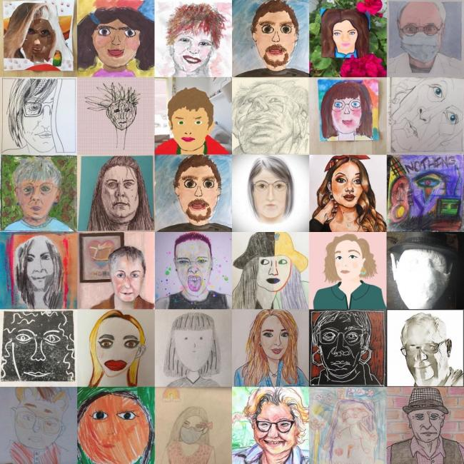 A selection of the self portraits used in the Breakout! exhibition