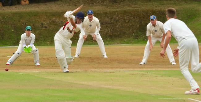 Some of the limited action from last weekend's rained off league opener between Shanklin and Ventnor 1 at Westhill. Photo: Dave Reynolds