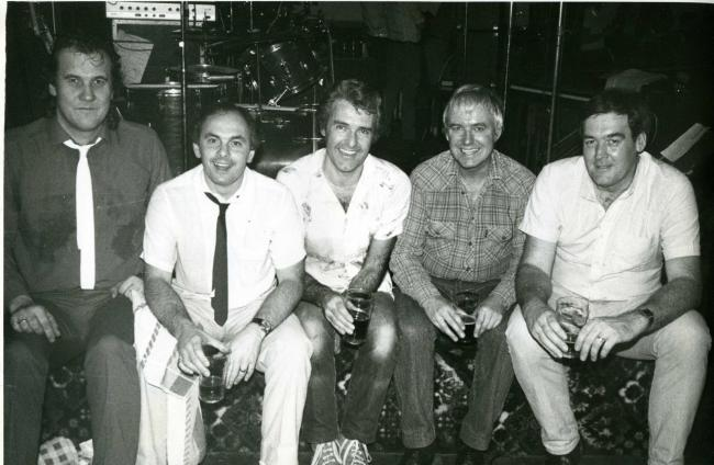 Original Blue Moon member (Left to right). Doug Watson, the late Graham Betchley, Brian Sharpe, the late Martyn Ford and Keith Roberts.