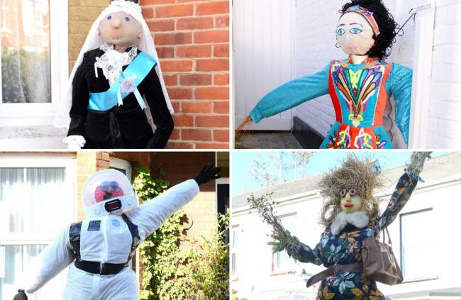 Some of the 2019 creations from the Brading Scarecrow Festival