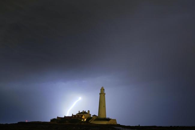 Lightning near St Mary's lighthouse in Whitley Bay, north-east England