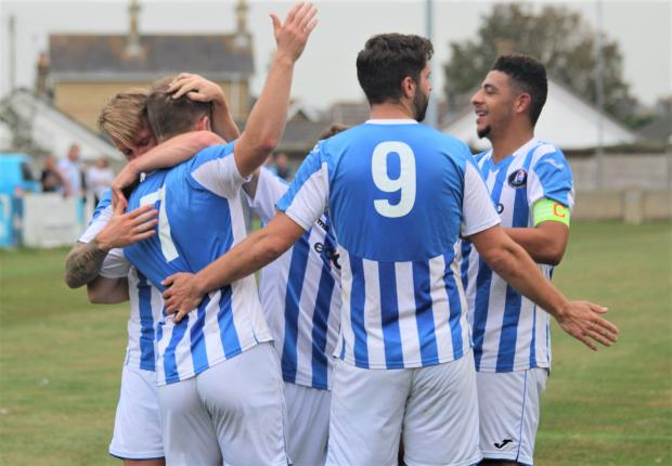 Isle of Wight County Press: Cowes celebrate taking the lead against Devizes Town.