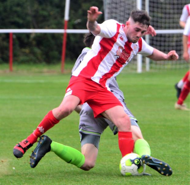 Isle of Wight County Press: Vics goalscorer Brandon Hayward in action.