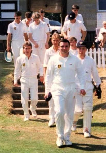 Isle of Wight County Press: Andy leads the Island team out at Shanklin's Westhill ground.