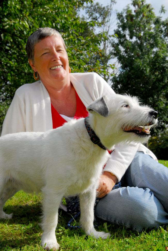 Newport. Margaret Crimmins with her rescue dog Pip.
