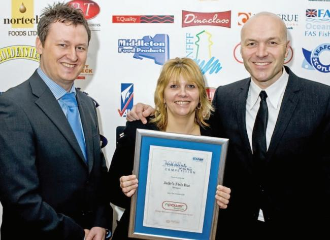 Ten years ago: From left, TV chef Simon Rimmer, Jude Attrill, owner of Jude's Fish Bar, and Russell Thompson, npower strategic affinities manager. Jude scooped a regional award for environmental work.