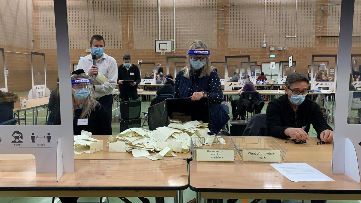 Ballots at the Isle of Wight Council election count.